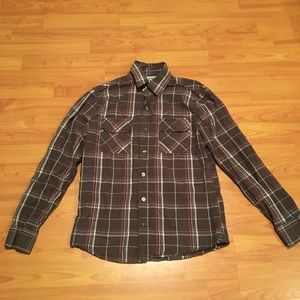 WOMENS BROWN PLAID CONVERSE BLOUSE SIZE SMALL